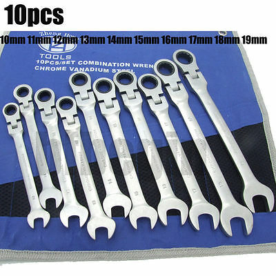 10pcs Metric Ratchet Combination Spanner Set Wrench Spanners Sizes 10-19mm