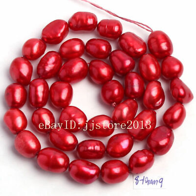 8-10mm Red Natural Freshwater Pearl Freeform DIY Gems Loose Beads Strand 14""