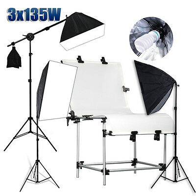 Photo Studio Softbox Lighting Boom Arm Soft Box Light Stand Shooting Table Kit