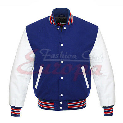 Top quality Royel Blue Wool Varsity Letterman Jacket with White Leather Sleeves