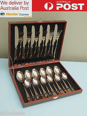 CUTLERY SET ROSE GOLD COLOUR 24 Pc GREAT FOR GIFTS WEDDINGS BOXED SPECIAL