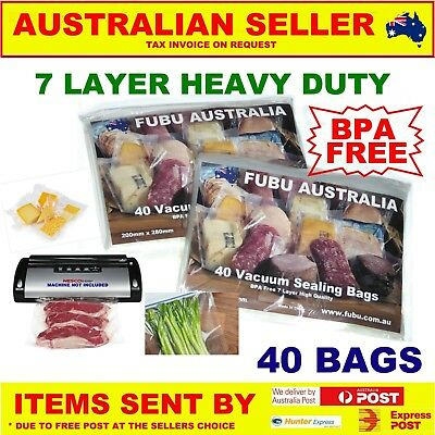 40 X Vacuum Food Sealer Bags Roll Storage Seal Saver 4  Home & Free Offer