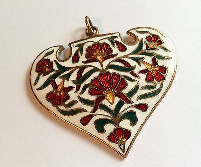 Original Nouveau enamel on brass heart pendant