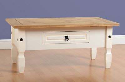 Corona 1 Drawer Coffee Table in Cream/Distressed Waxed Pine