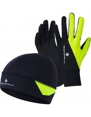 Ronhill Additions Beanie Hat & Glove Set Running & Outdoor - Black/Fluo Yellow