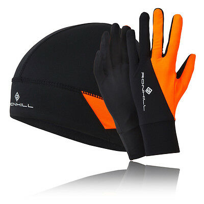 Ronhill Additions Beanie Hat & Glove Set Running & Outdoor - Black/Fluo Orange