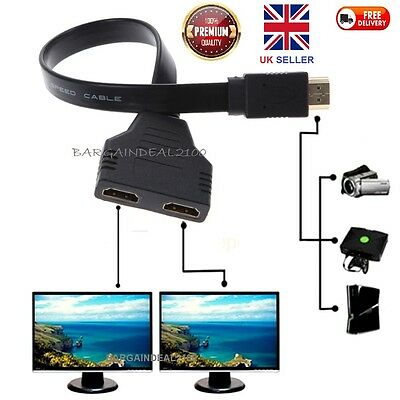 1080P HDMI Port Male to 2 Female 1 In 2 Out Splitter Cable Adapter Converter FLT