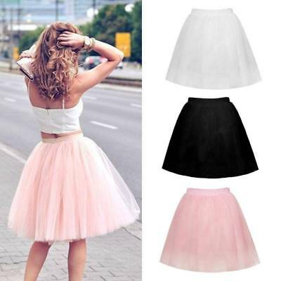 Womens 7 Layer Tulle Skirt Adult Tutu Petticoat Ball Gown Vintage Skater Dress
