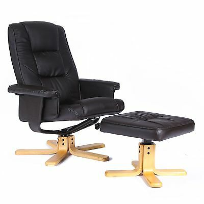 Leather Swivel recliner chair with foot stool - choice of colours