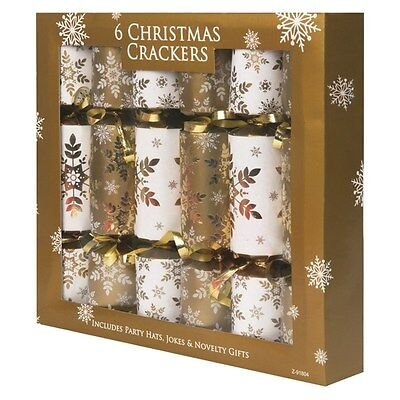 Gold Novelty Luxury Christmas Crackers Party Xmas Selection - 6 Pack