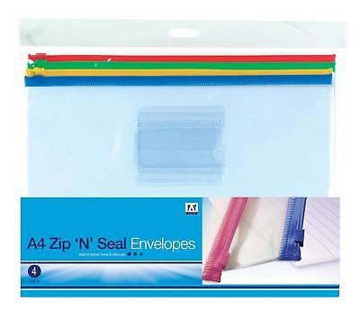 Pack Of 4 A4 Zip And Seal Envelopes Home School Office Work