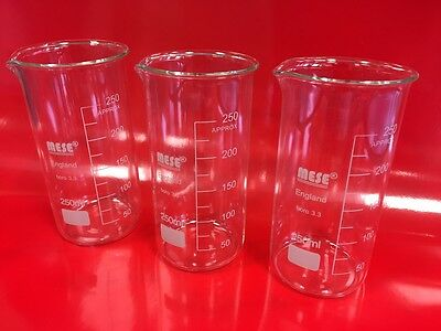 3x 250ml Borosilicate Glass Beakers, Tall-Form