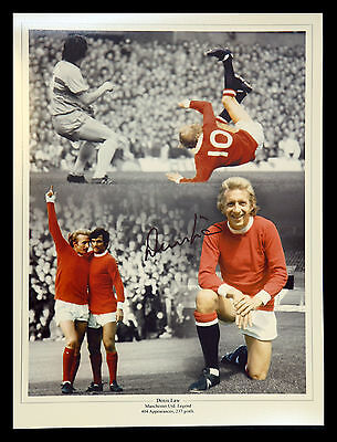 Denis Law Signed Manchester United 12x16 Football Montage