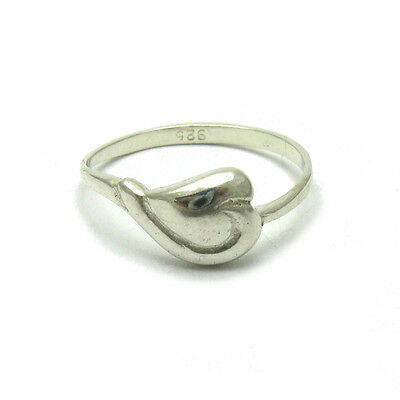 Stylish Sterling Silver Ring Solid 925 Heart Empress R000087