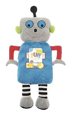 Childrens Soft Plush Blue Robot Fun 3D Novelty Cover 1 Litre Hot Water Bottle