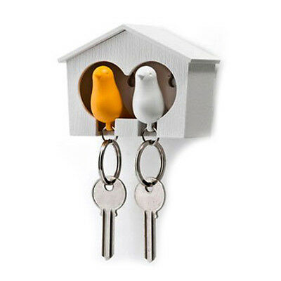 Duo Wood House Sparrow Bird Key Ring + Key Holder + Whistle BF