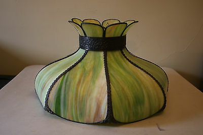 Large Stained Glass Tiffany Style Large Hanging Light Green Swirl Glass