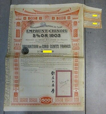 China  1903 Gold loan 5% Imperial Chinese Government