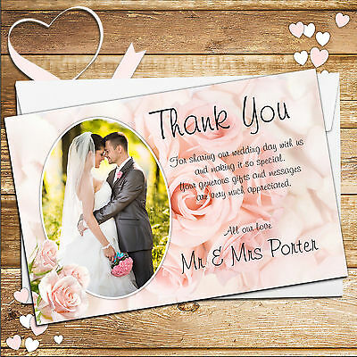 50 Personalised Pink Roses Wedding Day Thankyou Thank you PHOTO Cards N182