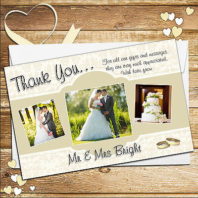 50 Personalised Gold Wedding Thank you Thankyou  PHOTO Cards N205