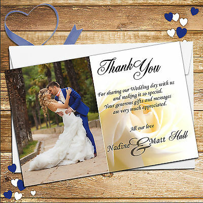 10 Personalised White Rose Wedding Day Thank you PHOTO Cards No1