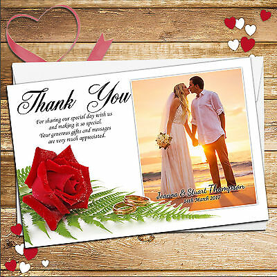 10 Personalised Red Rose Wedding Day Thankyou Thank you PHOTO Cards N25*