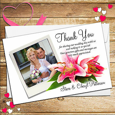 10 Personalised Pink Lily Wedding Day Thank You PHOTO Cards N85 Inc Envelopes