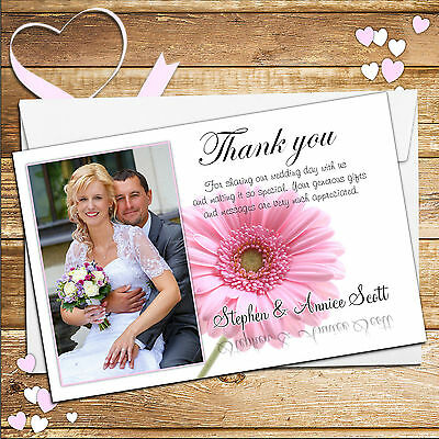 10 Personalised Pink Gerbera Wedding Day Thank You PHOTO cards N40