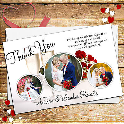 10 Personalised Elegant Red Roses Flower Wedding Day Thank you Cards D51