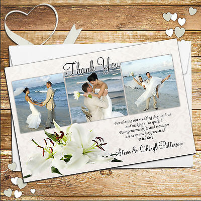 10 Personalised Elegant Pink Lily Wedding Day Thank you PHOTO Cards D90