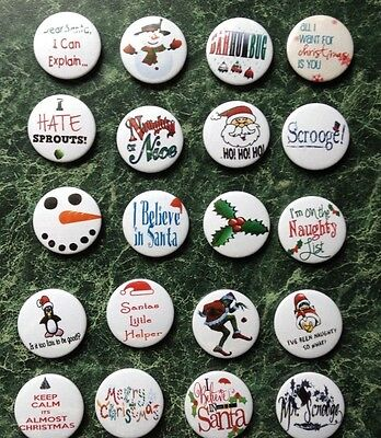 CHRISTMAS 20X BUTTON BADGES  1inch/25mm MERRY XMAS PARTIES SANTA CUTE KIDS