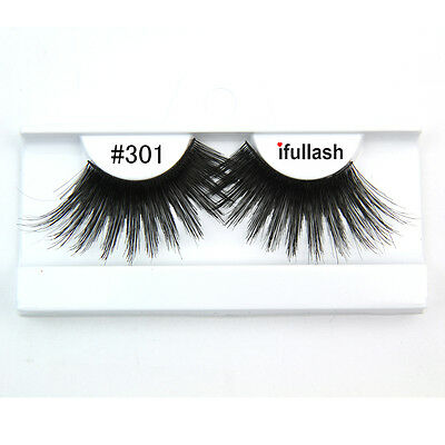 #301 6 or 12 pairs of ifullash 100% human hair Eyelashes- BLACK