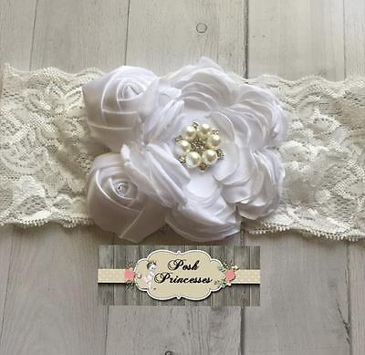 Baby Flower Headband, Newborn Vintage Flower Headband, White & Ivory Christening