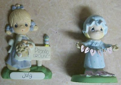 Precious Moments Baby Nightgown Hearts Figurine & Picnic Grounds July Magnet