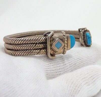 Vintage Modernist  925 STERLING SILVER & Turquoise Cable Cuff Bracelet 54 Grams
