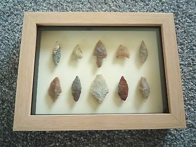 Neolithic Arrowheads in 3D Picture Frame, Authentic Artifacts 4000BC (0801)