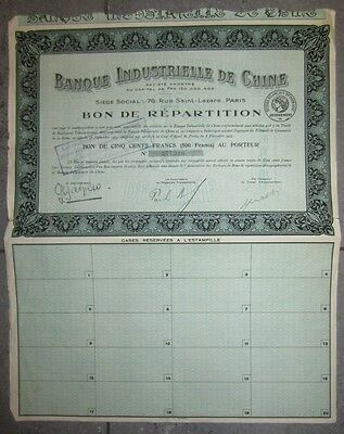 1923 Bank Industrial of China- Banque Industrielle de Chine - distribution share