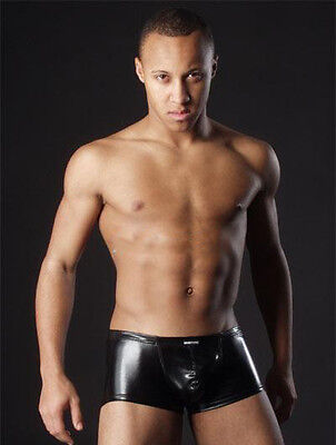 Mens Faux Leather PVC Boxer Shorts Size Small Medium large Gay Fetish underwear