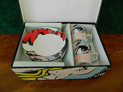 Boxed Pop Art Cafe By Paul Cardew For Finecase 2 Frothy Espresso Cups & Saucers