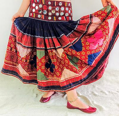 Vintage Embroidered Banjara Tribal Beautiful Mirror Work Skirt Belly Dance