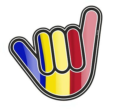 No Worries Hand With Romania Romanian Country Flag vinyl car Truck sticker