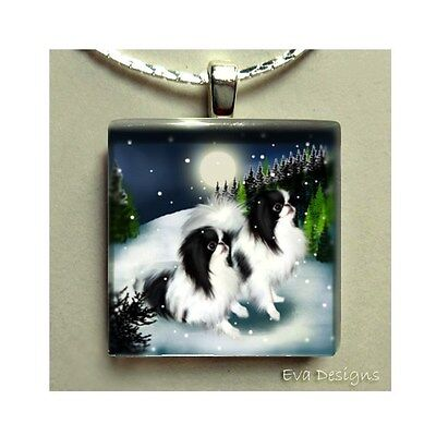 Japanese Chin Dogs Winter Necklace Charm Art Beads Jewelry Glass Tile Pendant