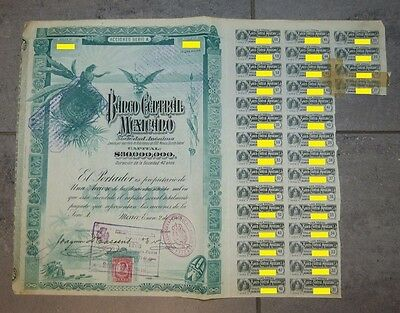 """Mexico    1908 Banco Central Mexicano $100   """"Blueberries""""  30M of capital"""