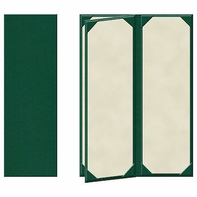 "25 Four Panel, Four View Menu Covers - 14"" x 4.25"" in Green (PZA-440GRP-P)"