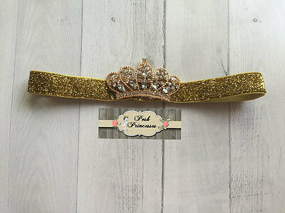 Baby Headband, Gold Metal Crown With Rhinestones, Gold Princess Tiara Crown