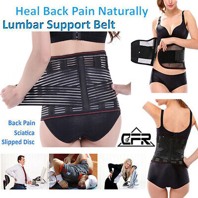 Breathable Lower Back Support Double Pull Strap Lumbar Brace Posture Belt Pain J