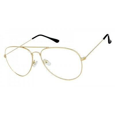 Clear Lens Aviator Gold Silver Black Glasses Fashion Sunglasses Retro Vintage