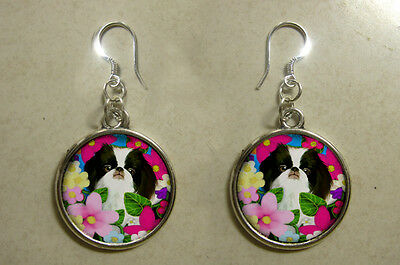 Japanese Chin Dog Art Pet Gift Silver Jewelry Dangle Round Charm Earrings