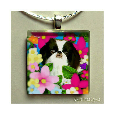 Japanese Chin Dog Flowers Necklace Charm Jewelry Beads Art Glass Tile Pendant