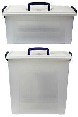 Small Large Tall Clear Plastic Storage Box Carry Handle Caddy Container Bo